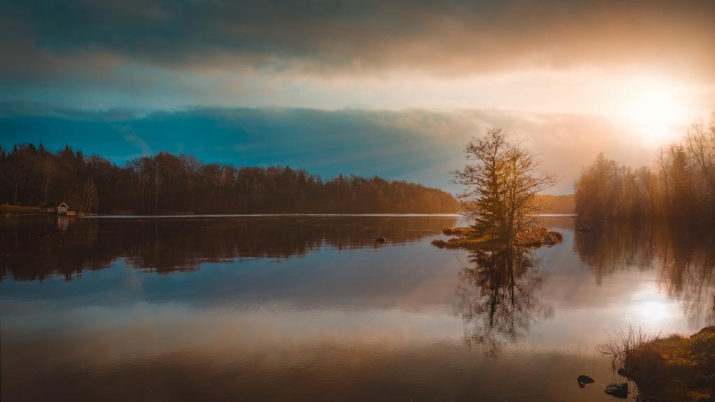solnedgång sjö